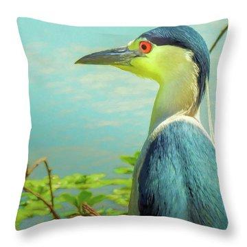 Black-crowned Night Heron Digital Art Throw Pillow