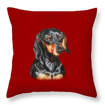 Throw Pillow featuring the painting Black Dachshund Accessories by Jimmie Bartlett