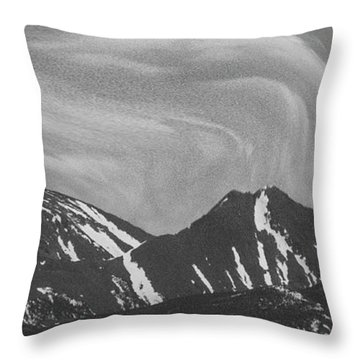 Black Day Mountain Throw Pillow