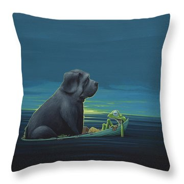Black Dog Throw Pillow by Jasper Oostland