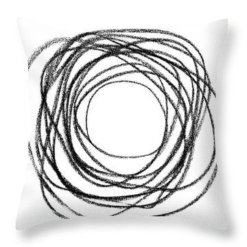 Black Doodle Circular Shape Throw Pillow by GoodMood Art
