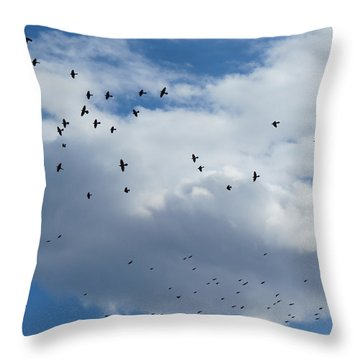 Black Dotted Sky Throw Pillow