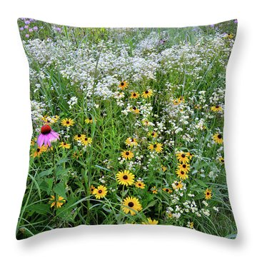 Black Eyed Susans And Company Throw Pillow