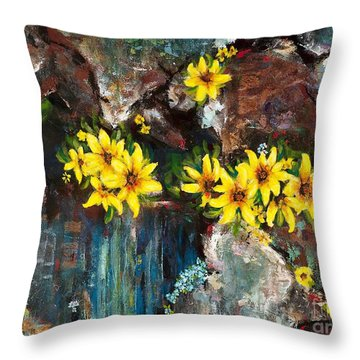 Black-eyed Susans Throw Pillow by Frances Marino