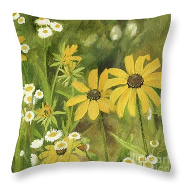 Throw Pillow featuring the painting Black-eyed Susans In A Field by Laurie Rohner