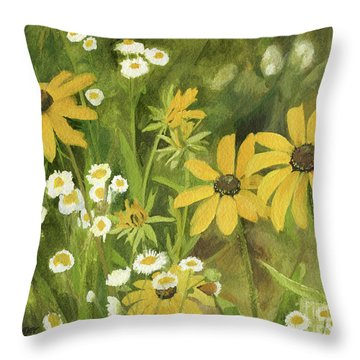 Black-eyed Susans In A Field Throw Pillow