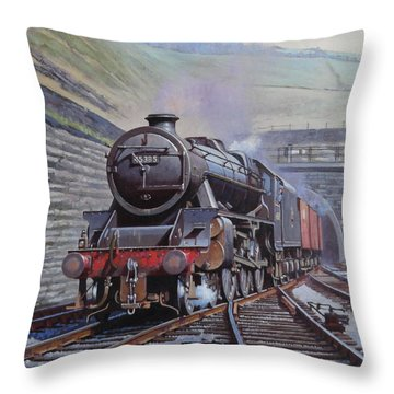 Throw Pillow featuring the painting Black Five On Goods. by Mike  Jeffries