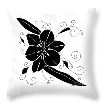 Black Flower Illustration Throw Pillow