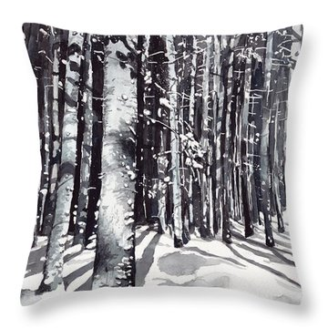 Black Forest Watercolor Throw Pillow