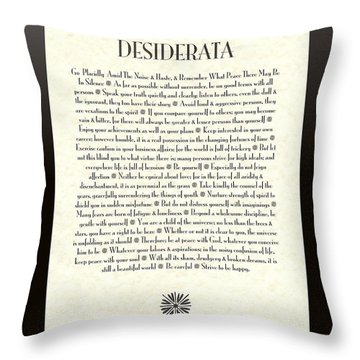Black Border Sunburst Desiderata Poem Throw Pillow