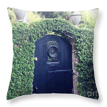 Throw Pillow featuring the photograph Black Garden Door by Heather Green