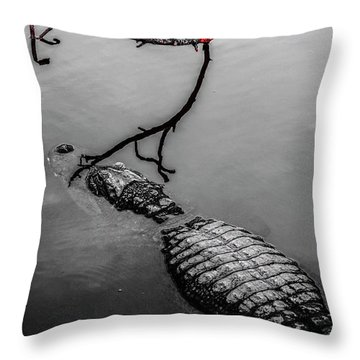 Black Gator Throw Pillow