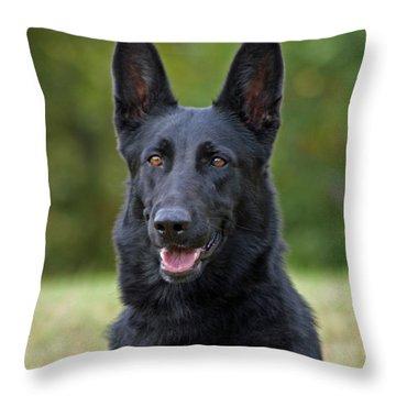 Black German Shepherd Dog Throw Pillow