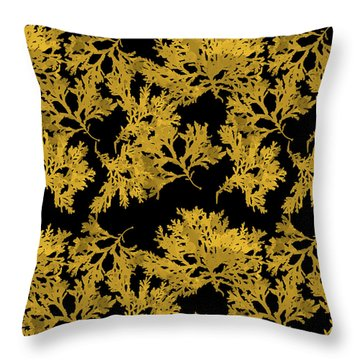 Throw Pillow featuring the mixed media Black Gold Leaf Pattern by Christina Rollo