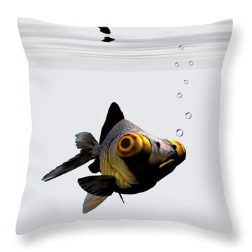 Black Goldfish Throw Pillow by Corey Ford