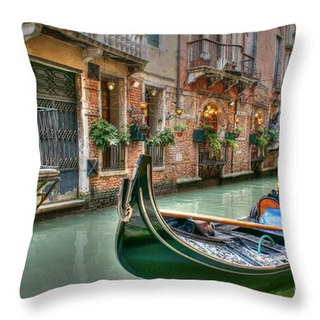 Black Gondola Throw Pillow