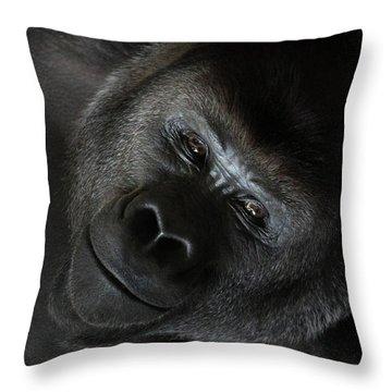 Black Gorilla Smile Throw Pillow