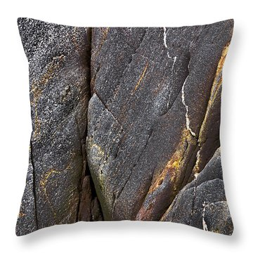 Throw Pillow featuring the photograph Black Granite Abstract Two by Peter J Sucy