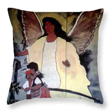 Black Guardian Angel Mural Throw Pillow