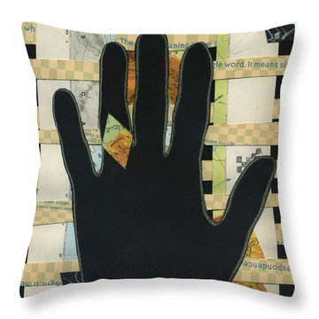 Black Hand Collage Throw Pillow