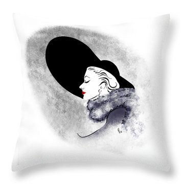 Throw Pillow featuring the digital art Black Hat Red Lips by Cindy Garber Iverson