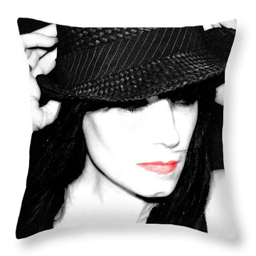 Black Hat Throw Pillow by Tbone Oliver