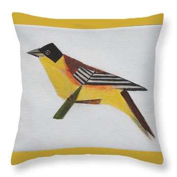 Black-headed Bunting Throw Pillow