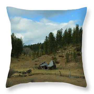 Black Hills Broken Down Cabin Throw Pillow