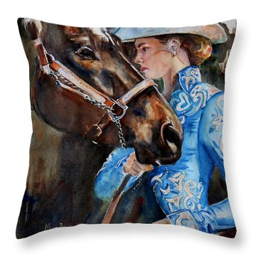 Black Horse And Cowgirl   Throw Pillow by Maria's Watercolor