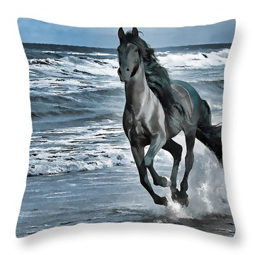 Black Horse Running Through Water Throw Pillow by Lanjee Chee