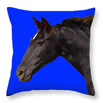 Black Horse Spirit Blue Throw Pillow