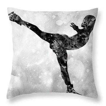 Ice Skating-black  Throw Pillow