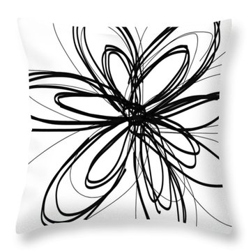 Black Ink Flower 1- Art By Linda Woods Throw Pillow