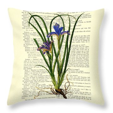 Black Iris Antique Illustration On Dictionary Page Throw Pillow