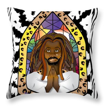 Black J C Throw Pillow