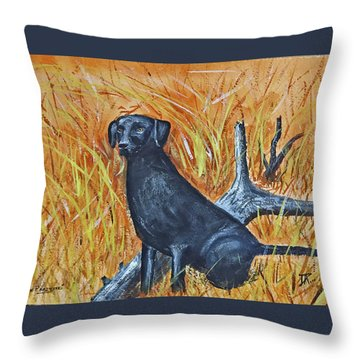 Black Lab-2 Throw Pillow