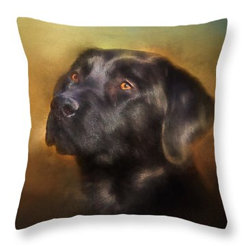 Black Lab Portrait 2 Throw Pillow