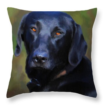 Black Lab Portrait Throw Pillow