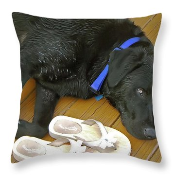 Black Lab Resting Throw Pillow by Brian Wallace