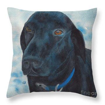 Black Labrador With Copper Eyes Portrait II Throw Pillow