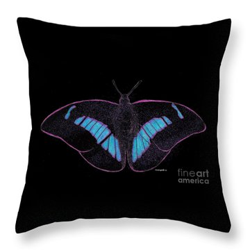 Black Light Butterfly Throw Pillow