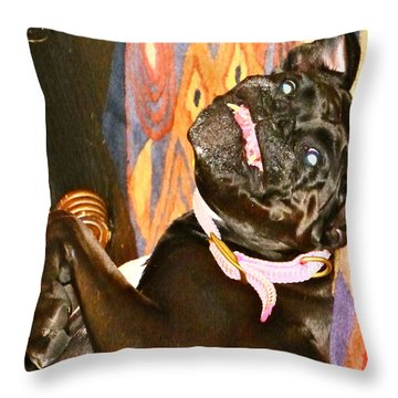 Black Lipstick Throw Pillow