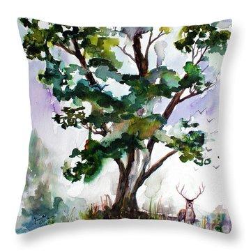Black Locust Tree And Deer Landscape Portrait Throw Pillow