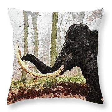 Throw Pillow featuring the digital art Black Mammoth by PixBreak Art