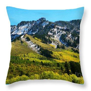 Black Mesa Rocky Peak In Autumn Throw Pillow