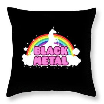 Black Metal Funny Unicorn / Rainbow Mosh Parody Design Throw Pillow by Philipp Rietz