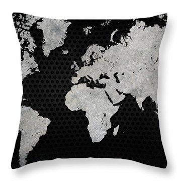 Black Metal Industrial World Map Throw Pillow