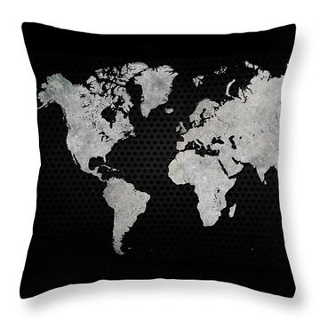 Throw Pillow featuring the digital art Black Metal Industrial World Map by Douglas Pittman