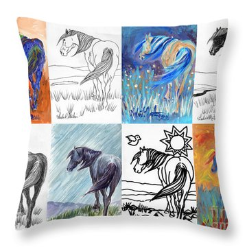 Black Mustang Sampler Throw Pillow
