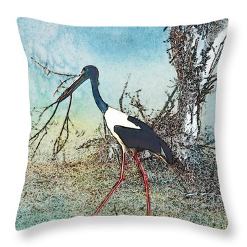 Black Neck Stork  Throw Pillow